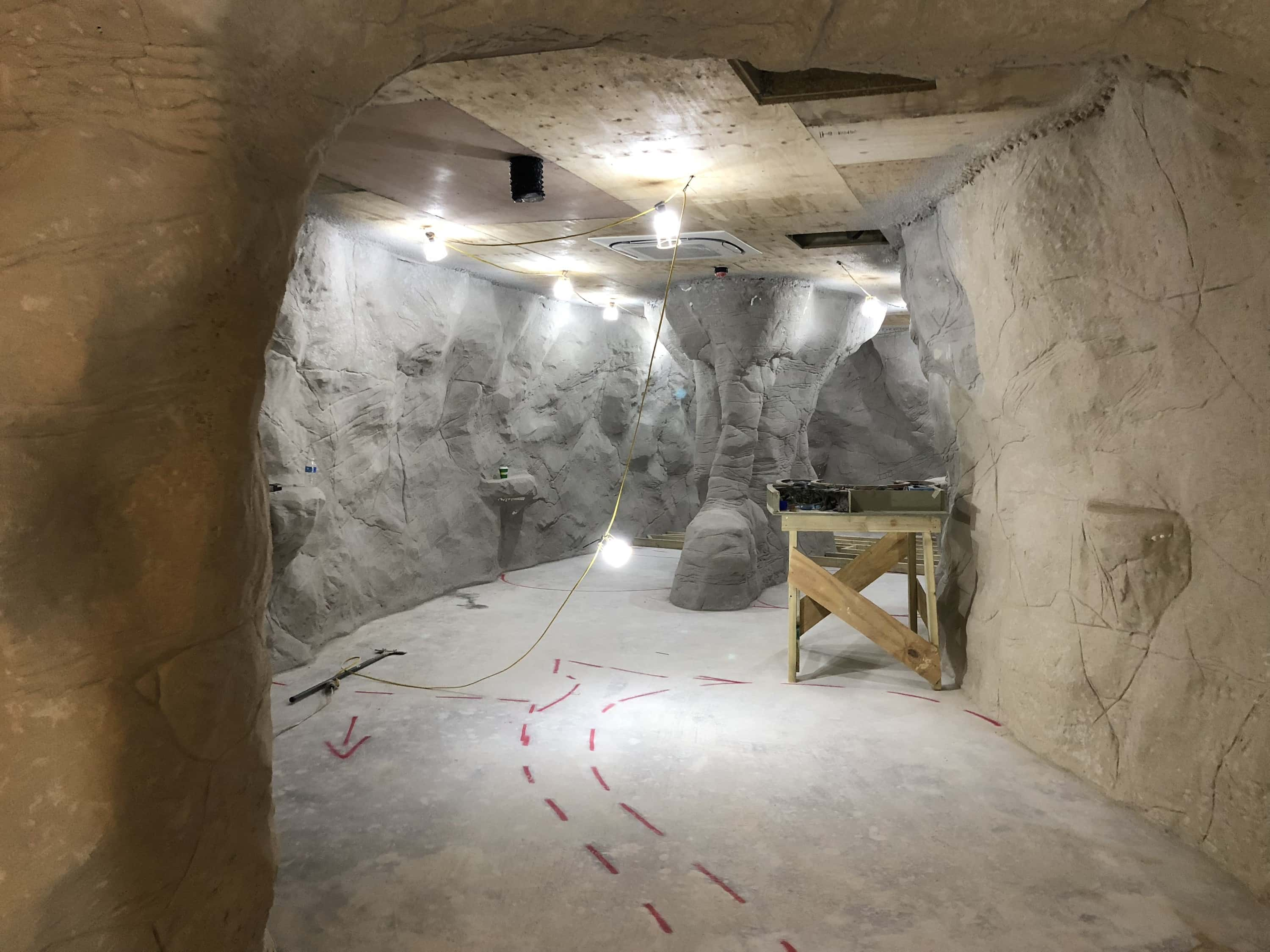 An image of the rockwork cave being created for lost world golf